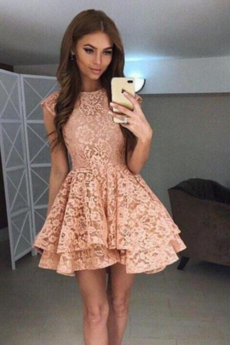 Cute A Line Lace Short Prom Dress, Lace Homecoming Dress,Party Dress,Graduation Dress,A-Line Prom Dresses,Cheap Prom Dress
