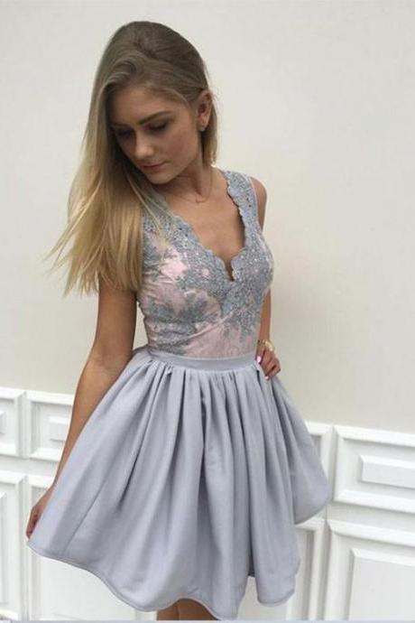 Cute A Line V Neck Lace Short Prom Dress, Lace Homecoming Dress,Party Dress,Graduation Dress,A-Line Prom Dresses,Cheap Prom Dress