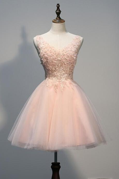 Charming Homecoming Dress,Organza Homecoming Dress,Appliques Homecoming Dress,V-Neck Homecoming Dress,Party Dress,Graduation Dress,A-Line Prom Dresses,Cheap Prom Dress