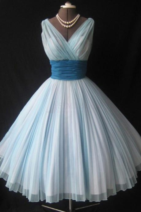 Elegant V-neck Sleeveless Knee-Length Sky Blue Homecoming Dress Ruched with Blue Sash,Party Dress,Graduation Dress,A-Line Prom Dresses,Cheap Prom Dress