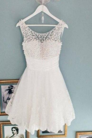 Charming Scoop A-Line Sleeveless Short White Lace Homecoming Dress with Beaded,Party Dress,Graduation Dress,A-Line Prom Dresses,Cheap Prom Dress