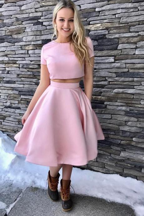 Lovely Two Piece Short Pink Knee Length Homecoming Dress A-Line Prom Dresses Graduation Dress Cheap Prom Dress Party Dress