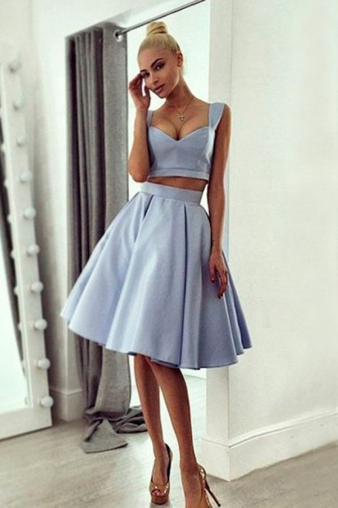 Homecoming Dress,Short Prom Dress,A-line Satin Low-Cut Two Pieces Homecoming Dress Sexy Homecoming Dress Prom Gown A-Line Prom Dresses Graduation Dress Cheap Prom Dress Party Dress