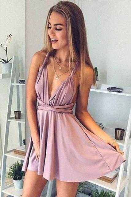 Romantic A-Line Homecoming Dresses,Deep V-Neck Prom Dresses,Sexy Homecoming Dresses,Short Prom Dresses