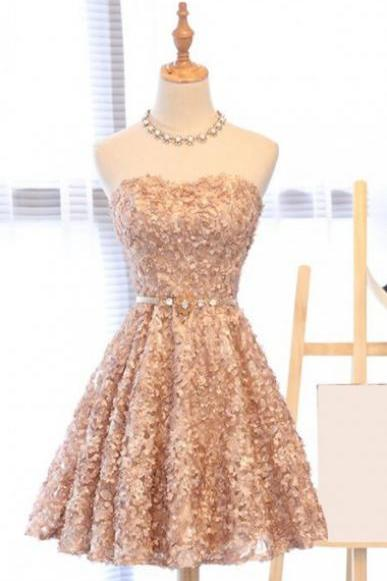 A-Line Sweetheart Above-Knee Champagne Tulle Homecoming Dress with Appliques Cheap Evening Dress A-Line Prom Dresses 2018 Graduation Dress Hot