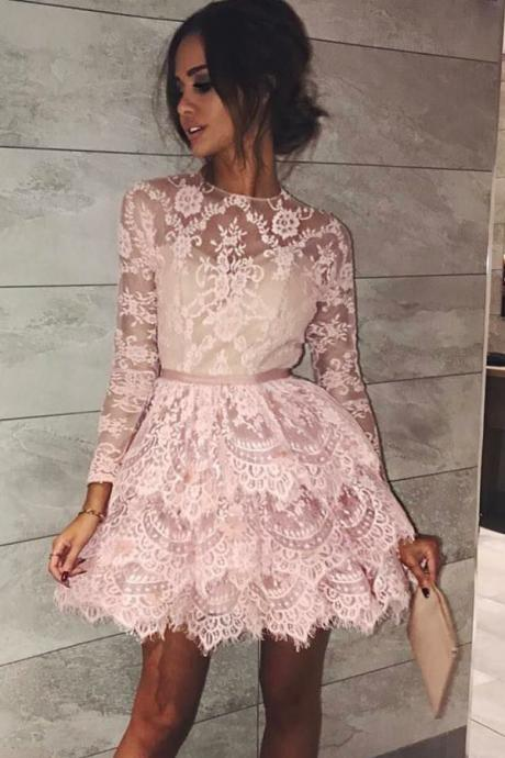 Jewel Long Sleeves Short Pink Lace Homecoming Dress Cheap Evening Dress A-Line Prom Dresses 2018 Graduation Dress Hot