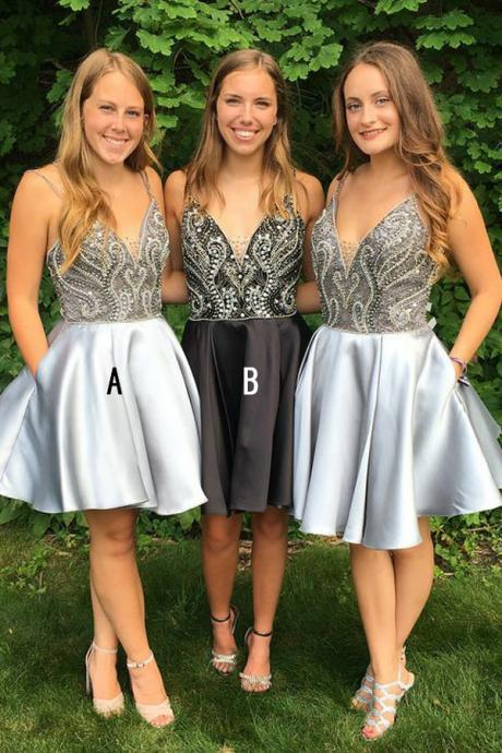 A-Line Spaghetti Straps Above-Knee Grey Satin Homecoming Dress with Beading Cheap Evening Dress A-Line Prom Dresses 2018 Graduation Dress Hot