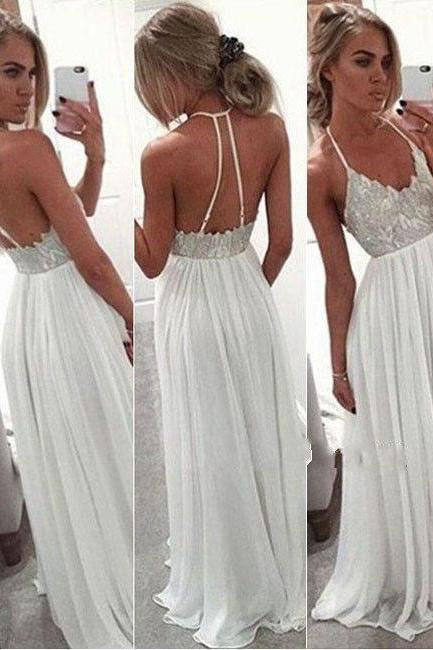 Charming Spaghetti Straps Mint Green Chiffon Prom Dress, Prom Gowns with Slit, Sexy Prom Dress, Women Dress