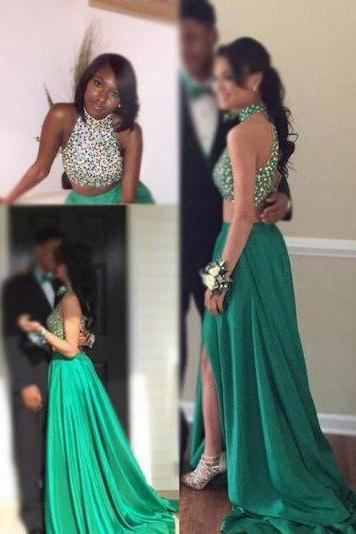 Glamorous Two Pieces High Neck Prom Dresses,Beading Prom Dresses,Open Back Prom Dresses,With Slit Prom Dresses