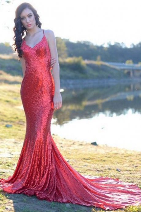 Red Sequin Prom Dresses V Neck Long Sexy Backless Evening Dresses Elegant Formal Gowns Mermaid Party Pageant Dresses with Train