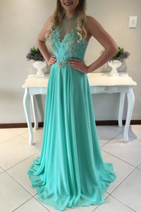 Green Chiffon Prom Dresses Long A-line Sleeveless Evening Dresses Appliques Formal Gowns Sexy Party Pageant Dresses for Teens Girls