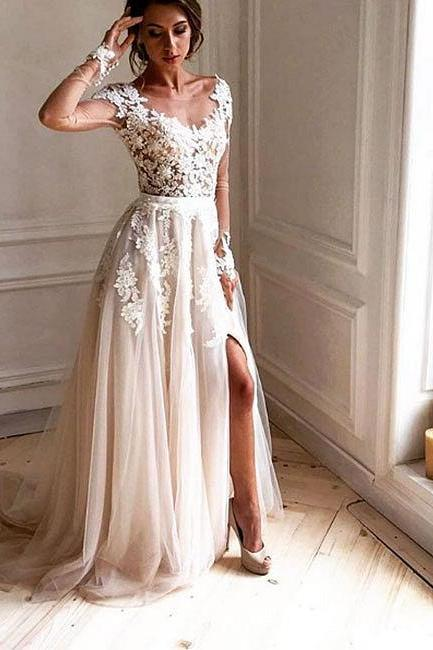 Stylish lace tulle long prom dress, lace long sleeve evening dress
