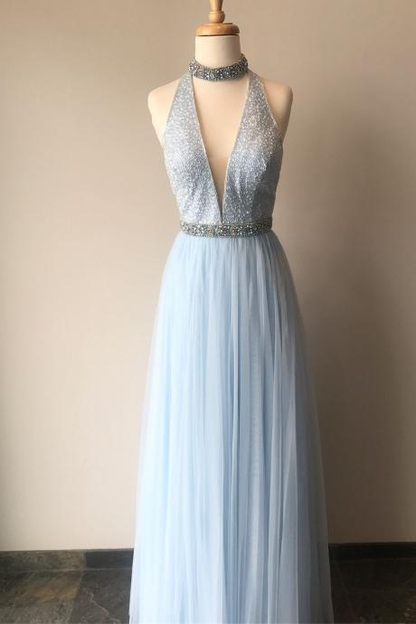 Elegant A-Line High Neck Sleeveless Sky Blue Tulle Long Prom/Evening Dress with Beading