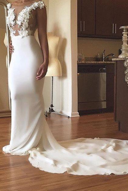 Long White Mermaid Prom Dresses 2018 Appliques Evening Formal Gowns Sexy Party Graduation Dress