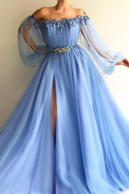 Petite Blue Hot Long 2018 Prom Dress Sexy Slit Evening Dress A-Line Prom Dresses