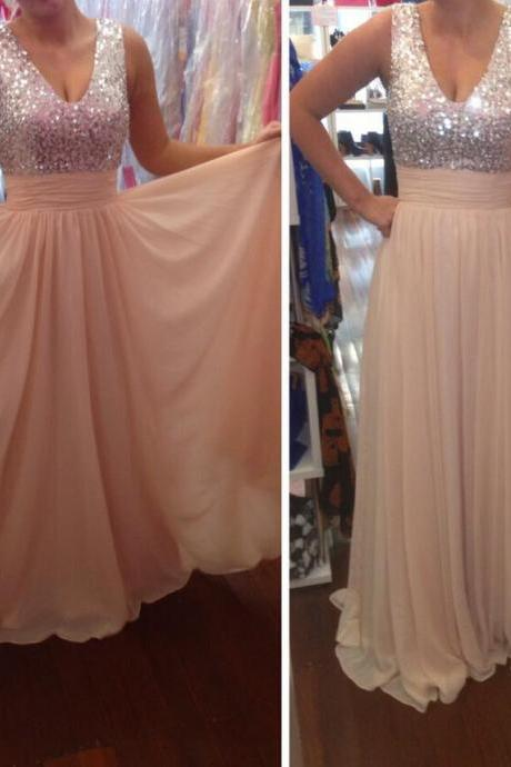 Sequin Embellished Plunge V Sleeveless Floor Length Chiffon A-Line Formal Dress, Prom Dress