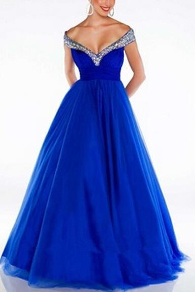 2016 Elegant Royal Blue Evening Dress White Tulle Crystal Beaded Sweetheart Backless Long Evening Dress Prom Party Gowns