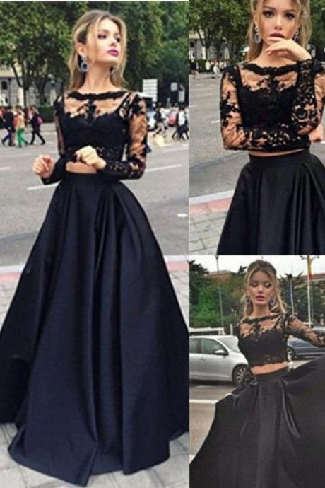 Prom Dress,Black Lace Prom Dress, Two piece Prom Dress,Long Sleeve Evening Dress, Formal Dress