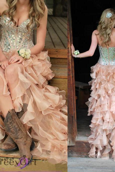 Prom Dress,Sequin Prom Dress,Country Style Prom Dress, Ligh Low Prom Dress,Beading Prom Dress,Ready Dress to Prom