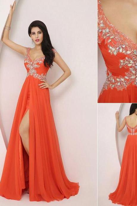 2016 New Design Chiffon Long Prom Dresses Orange Crystal Beaded Floor Length V-neck Halter Prom Dresses Evening Dresses