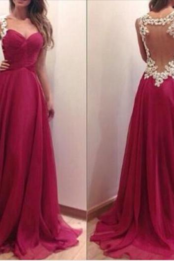 Charming Burgundy Sweetheart Floor Length Prom Dress With Applique Blackless Detalis, Handmade Prom Dresses 2016, Prom Dresses, Evening Dresses