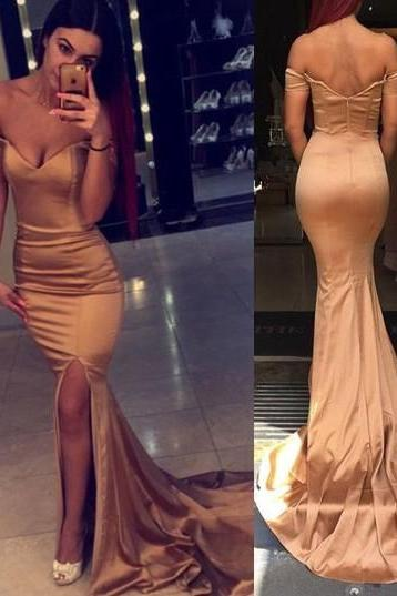 2016 Off-the-shoulder Long Mermaid Long Prom Dress with Side Slit