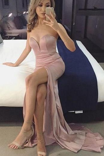 Sweetheart Floor Length Formal Dress Featuring Slit, Prom Dress