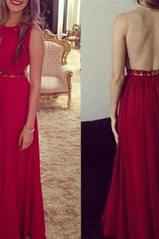 Cheap Sexy Red Handmade Long Chiffon Beaded See Through Prom Dresses, Prom Gowns 2016, Red Evening Dresses