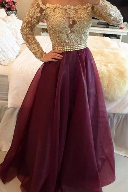 Long Sleeves Prom Dresses Gold Illusion Lace Beaded Burgundy A-line Gorgeous Evening Gowns