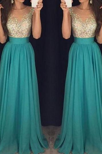 2016 Sexy Crew Neck Chiffon Long Prom Dresses Tulle Beaded Stones Top Floor Length Evening Party Dresses