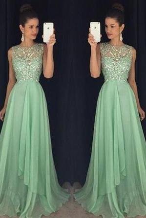Mint green Prom Dress, Charming Prom Dress, Chiffon Prom Dress, 2016 Prom Dress, Evening Dress