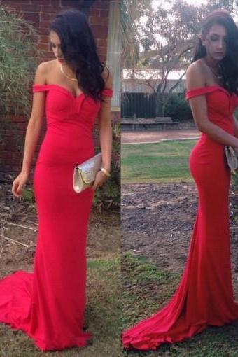 Sexy Mermaid Sweetheart Sweep Train Off-shoulder Red Prom Dress Evening Gowns