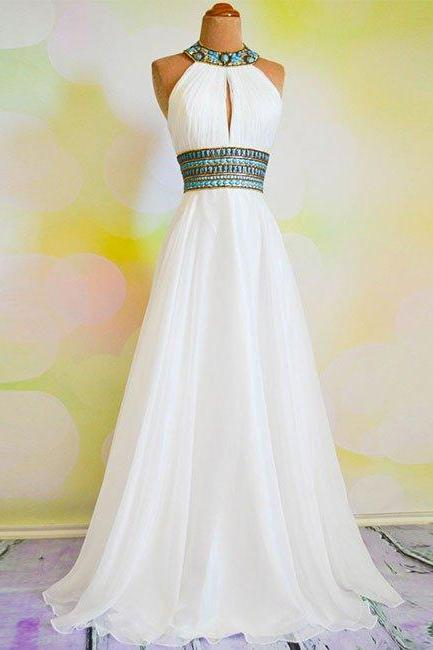 White A-line Rhinestone Backless Long Prom Dress, Evening Dresses