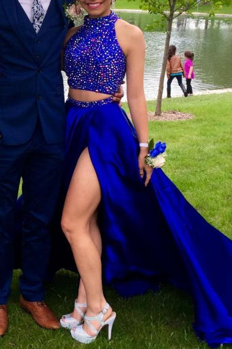 Sexy Two Pieces Royal Blue Prom Dress,Charming Prom Dress,Beading Prom Dress,Long Evening Dress,Formal Dress