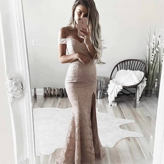 Lace Off-The-Shoulder Plunge V Floor Length Mermaid Formal Dress Featuring Slit, Prom Dress