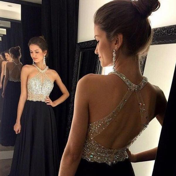 High Quality Sexy Black Evening Dress, A-Line Chiffon Charming Prom Dresses Beading Party Dress