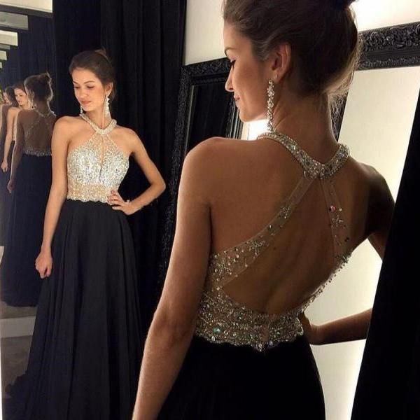 Backless prom dresses, sexy prom dress, black halter prom dress, Long prom dress, fashion prom dresses, cheap prom dress,
