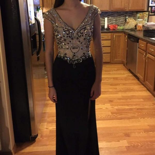 Swarovski Cheap Evening Dresses,,Formal Gown,Prom Dress,Black Prom Dress,Long Evening Dress,Elegant Beaded Mermaid Prom Dress,Fomal Evening Dress,Party Dress