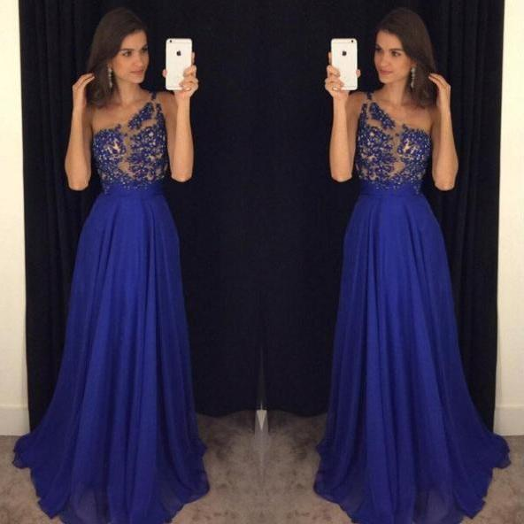 Unique Prom Dress,One shoulder Prom Dresses Royal Blue 2017 A-Line One Shoulder Floor-length Chiffon Sexy Prom Dress,lace prom dresses,