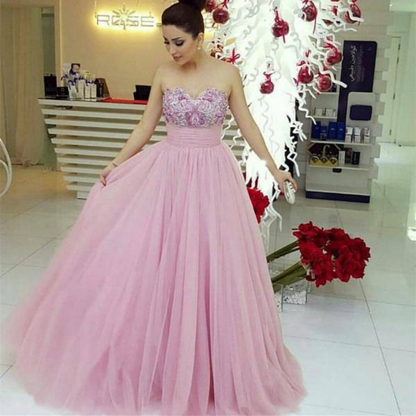 Backless Prom Dresses,Cheap evening dress,Prom Dresses,Prom Dress,Pink Evening Gown Ball Gown Tulle Prom Dress,Sexy Prom Dress,
