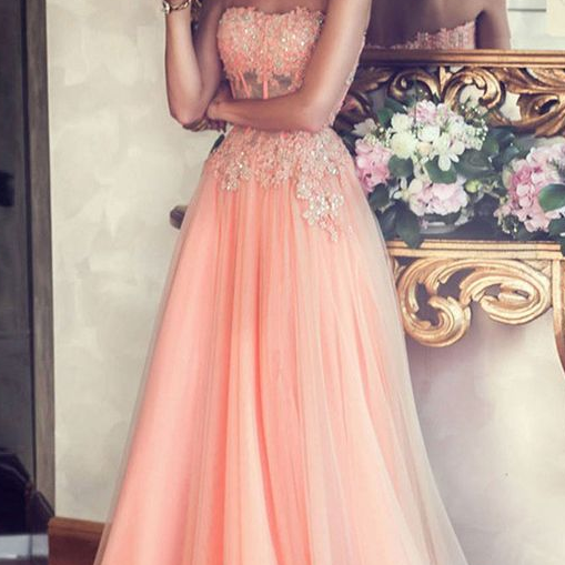 Sexy Prom DressCheap Prom Dress,Bridesmaid Dresses,Pink Strapless Long Prom Dress,Beading Chiffon A-Line Evening Gowns,Custom Dresses