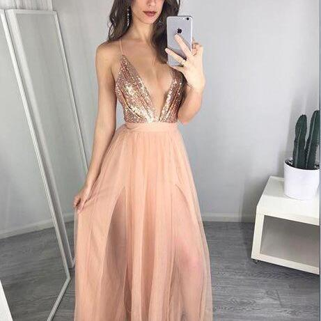 Unique A-Line Prom Dresses ,Pink Prom Dresses,Blush Pink Prom Dress,Prom Gown,Pink Prom Gown,Elegant Evening Dress,V-Neck Prom Dress,Slit Party Gowns,