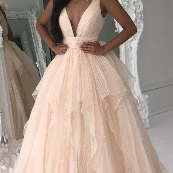 Charming Crepe Tulle Prom Dress, Champagne Prom Dresses, Long Prom dress, Deep V Neck Graduation Dress