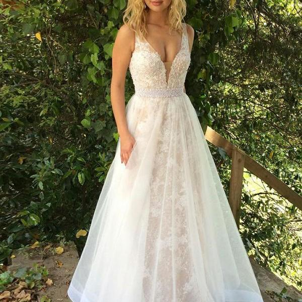Beautiful A Line Prom Dresses ,V Neck Long Evening Dress,Champagne Formal Dress,Tulle Prom Gowns,Lace Cheap Prom Dress