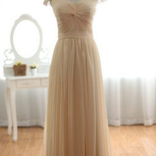 Vintage Long Champagne Chiffon Dress, with Beaded Cap Sleeves Evening Dress,Champagne Formal Dress,