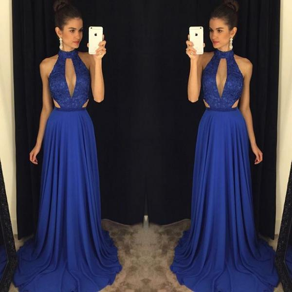 Royal Blue Halter Prom Dress, Front Key Hole Low Back Long Prom Dresses 2017,Elegant Royal Blue Prom Dress,Deep V-neckline Prom Dresses,Formal Evening Dress,