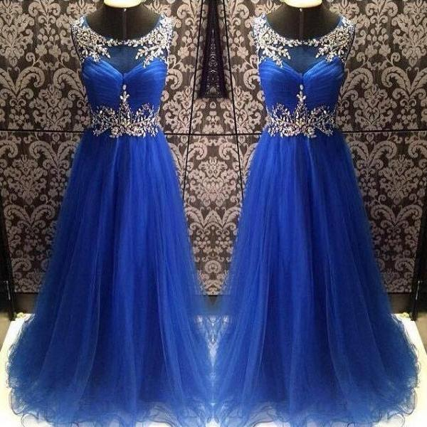 Long Dress prom dresses,evening gowns,tulle prom gowns,royal blue prom gowns,new style fashion prom gowns,Classic Evening Dresses
