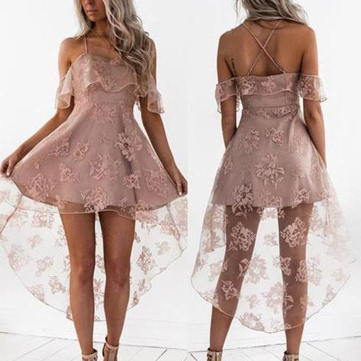 Stylish A Line Lace Hight Low Short Prom Dress, Homecoming Dress,Party Dress,Graduation Dress,Formal Gowns