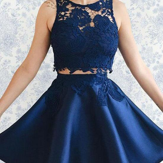 Dark Blue Lace Two Pieces Short Prom Dress, Homecoming Dress,Party Dress,Graduation Dress,A-Line Prom Dresses