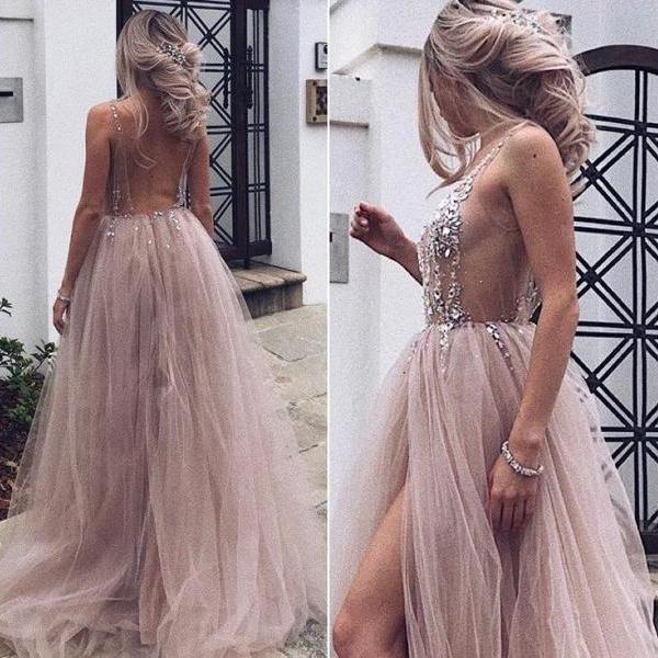 2018 Hot Sexy Beaded Open Back Tulle Split Long Evening Prom Dresses Cheap Prom Dresses